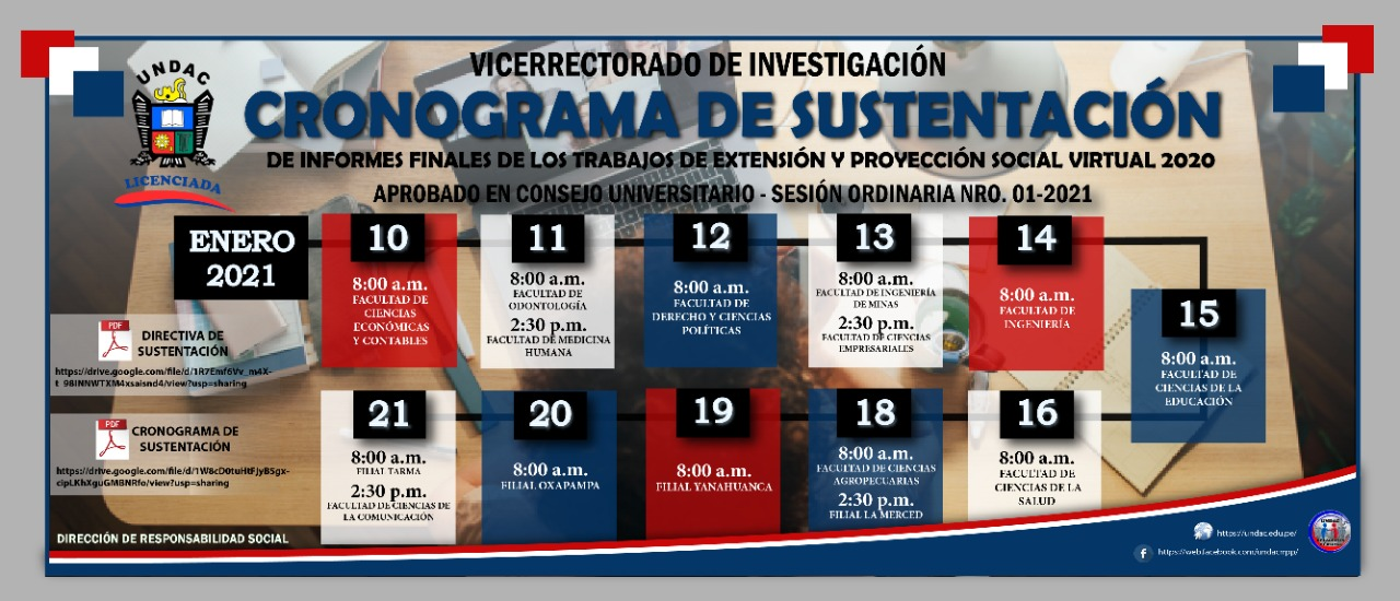 APRUEBAN EL PROCESO DE SUSTENTACIÓN DE INFORMES FINALES DE PROYECTOS DE EXTENSIÓN Y PROYECCIÓN SOCIAL VIRTUAL 2020