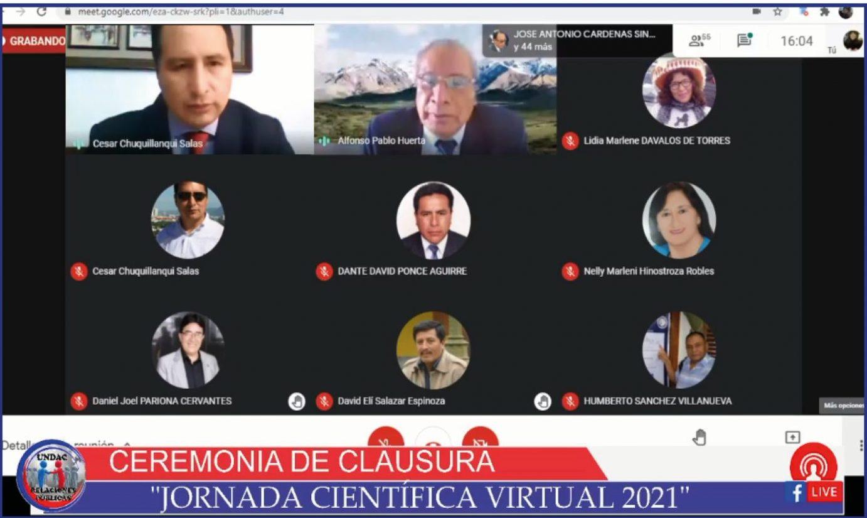 LA UNDAC CLAUSURA JORNADA CIENTÍFICA VIRTUAL 2021