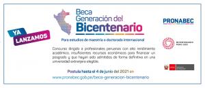 Pronabec lanza Beca Generación del Bicentenario para maestrías y doctorados en el extranjero