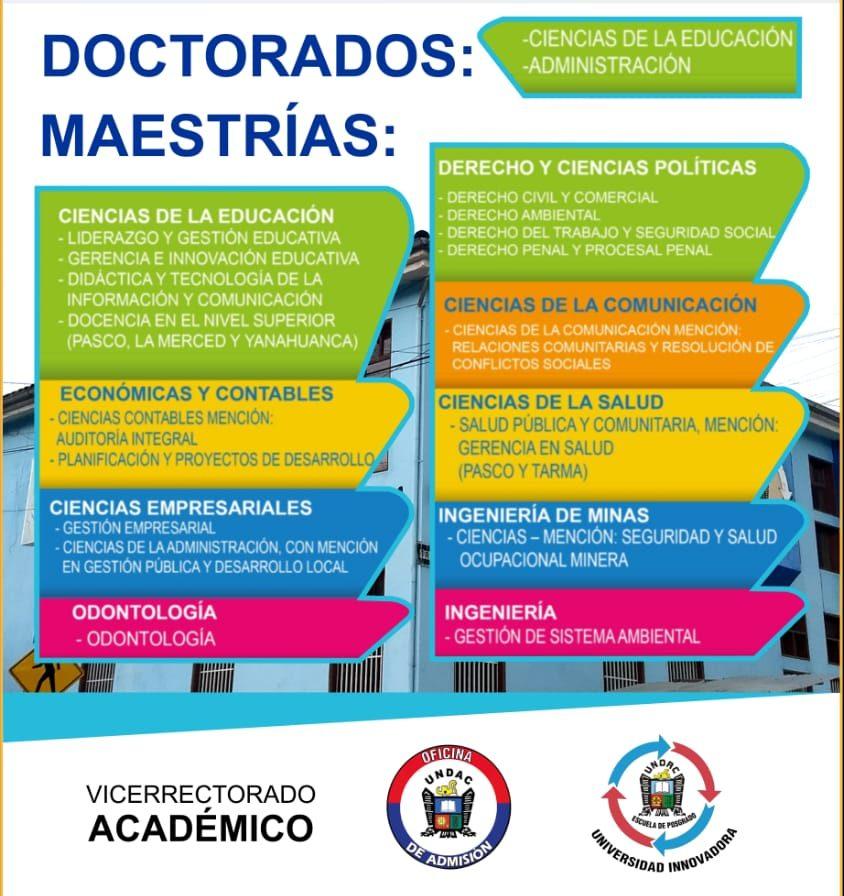LA ESCUELA DE POSGRADO DE LA UNDAC CONVOCA A EXAMEN DE ADMISIÓN COMPLEMENTARIO VIRTUAL PARA DOCTORADOS Y  MAESTRÍAS